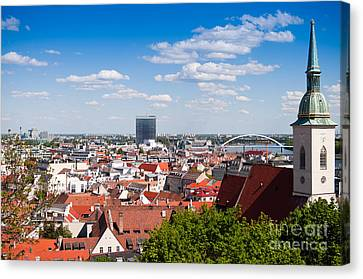 Canvas Print featuring the photograph Bratislava Roofs by Les Palenik