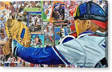 Braves Catcher Canvas Print by Michael Lee
