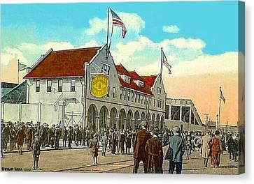 Braves' Field In Boston Ma In 1917 Canvas Print by Dwight Goss