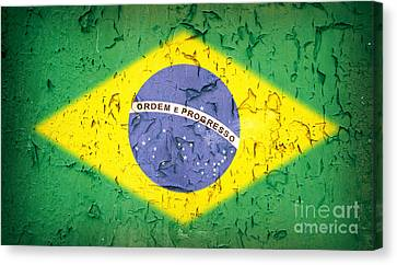 Patriotism Canvas Print - Brazil Flag Vintage by Jane Rix