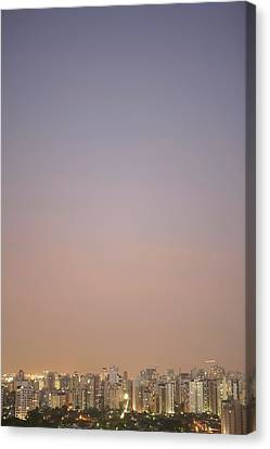 Brazil, Sao Paulo, Cityscape At Sunset, Elevated View Canvas Print by Thomas Northcut