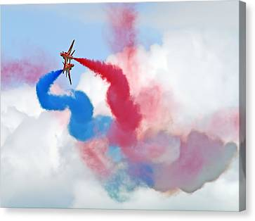 Break  Red Arrows - Dunsfold 2012 Canvas Print by Colin J Williams Photography