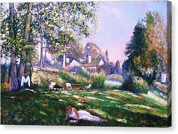 Canvas Print featuring the painting Even Angels Need A Break by Charles Munn