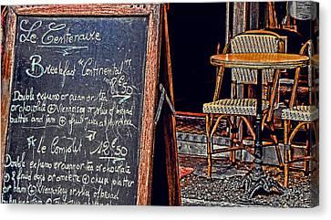 Breakfast In Paris Canvas Print by Tony Grider