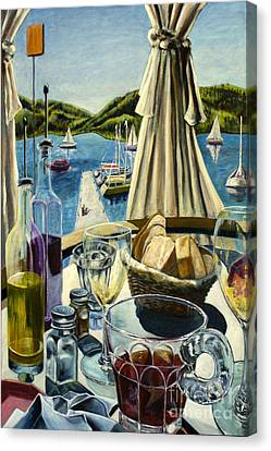 Canvas Print featuring the painting Breakfast In Skradin by AnneKarin Glass