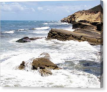 Breakwaters At Point Loma Canvas Print