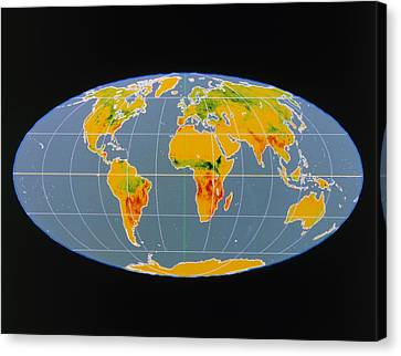 'breathing Earth' Co2 Input/output, Global Map Canvas Print by Nasa