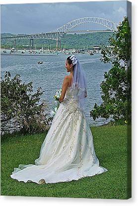 Bride And Bridge Canvas Print