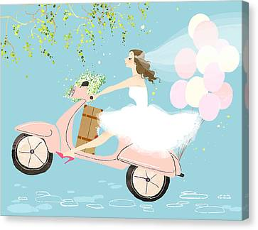 Bride On Scooter Canvas Print