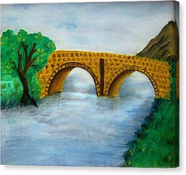 Bridge-acrylic Painting Canvas Print by Rejeena Niaz