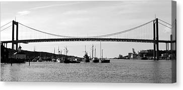 Bridge And Boats Canvas Print by Smallfort Photography Collection
