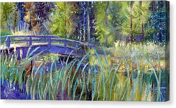 Canvas Print featuring the painting Bridge At Habersham by Gertrude Palmer