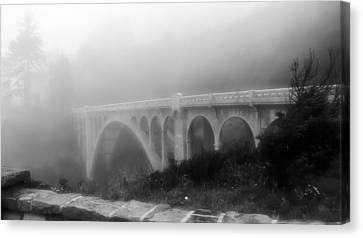 Canvas Print featuring the photograph Bridge In Fog by Katie Wing Vigil