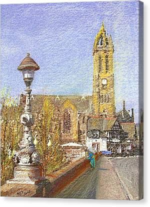 Canvas Print featuring the painting Bridge Inn And Parish Church Peebles by Richard James Digance