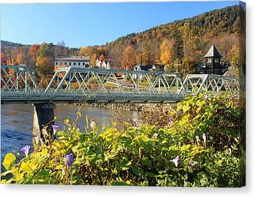 Bridge Of Flowers Morning Glory Autumn Canvas Print by John Burk