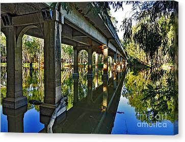 Bridge Over Ovens River Canvas Print by Kaye Menner