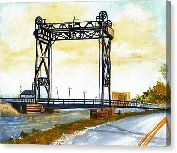 Bridge Over The Bayou Canvas Print by Elaine Hodges