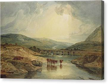 Sun Rays Canvas Print - Bridge Over The Usk by Joseph Mallord William Turner