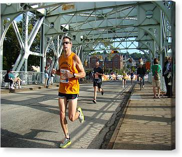 Canvas Print featuring the photograph Bridge Runner by Alice Gipson
