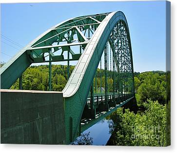 Canvas Print featuring the photograph Bridge Spanning Connecticut River by Sherman Perry