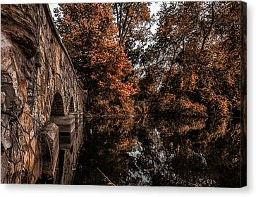 Canvas Print featuring the photograph Bridge To Autumn by Tom Gort