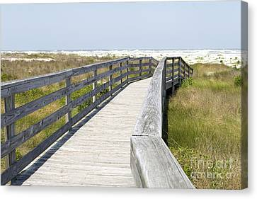 Bridge To The Beach Canvas Print by Glennis Siverson
