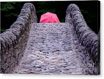Bridge With A Umbrella Canvas Print by Mats Silvan