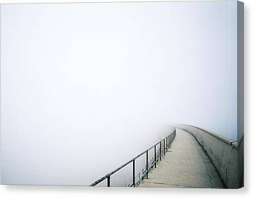 Bridge With Fog Canvas Print by I am all the children of light and the children of the day.
