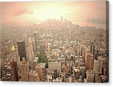 Bright Financial District In Nyc Canvas Print by Daniela Duncan