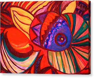 Bright Fishy With Fans And Swirls Canvas Print by Anne-Elizabeth Whiteway