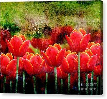 Bright Red Textured Tulip Flower Canvas Print by Angela Waye