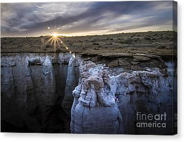 Bright Sun Setting At Coal Mine Canyon Canvas Print