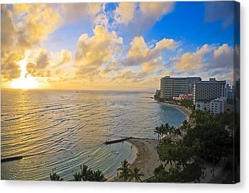 Bright Waikiki Sunset Canvas Print by Tomas del Amo
