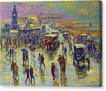 Shoreline Old Men Canvas Print - Brighton On A Rainy Day by Robert Tyndall