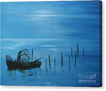 Bringing In The Nets. Canvas Print
