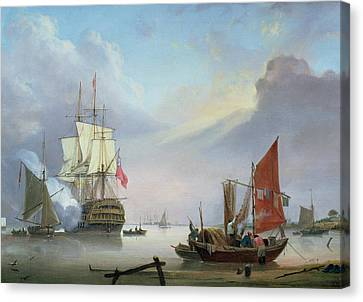 British Man-o'-war Off The Coast Canvas Print by George Webster