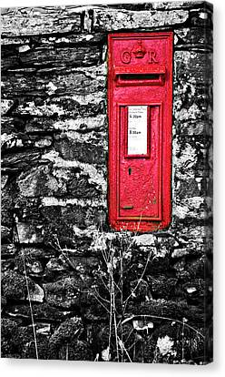 British Red Post Box Canvas Print by Meirion Matthias