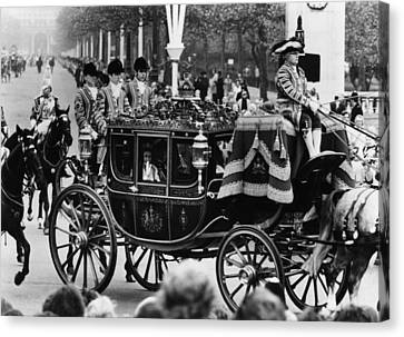British Royalty. In Carriage, From Left Canvas Print by Everett