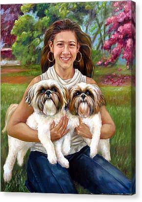 Canvas Print featuring the painting Brittany And Her Shih Tzusu by Nancy Tilles