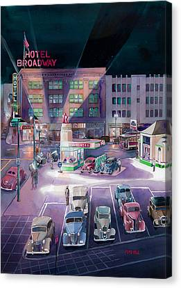 Broadway And Burnside 1941 Canvas Print by Mike Hill