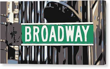 Broadway Sign Color 6 Canvas Print by Scott Kelley