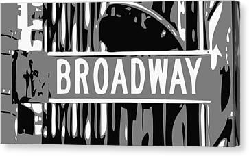 Broadway Sign Color Bw3 Canvas Print by Scott Kelley
