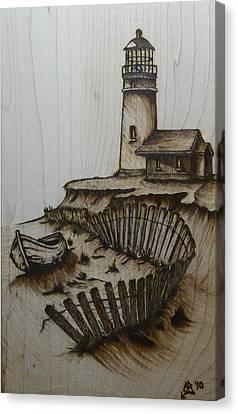 Sand Fences Canvas Print - Broken Beacan by Chad Bridges