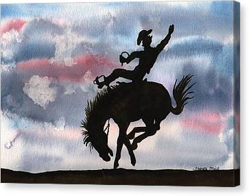 Forelock Canvas Print - Bronco Busting by Sharon Mick