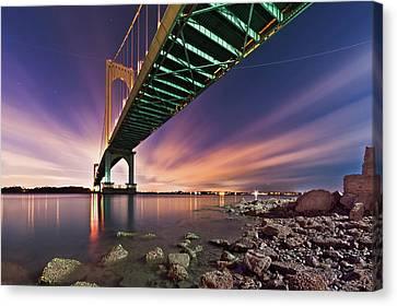 Bronx Whitestone Bridge At Dusk Canvas Print by Mihai Andritoiu, 2010