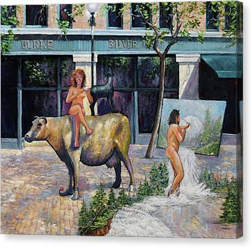 Wife On A Bronze Cow Canvas Print by Charles Munn