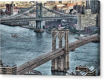 Brooklyn And Manhattan Bridge Canvas Print by Tony Shi Photography