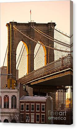 Canvas Print featuring the photograph Brooklyn Bridge - New York by Luciano Mortula
