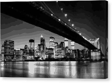 Brooklyn Bridge @ Night Bw16 Canvas Print by Scott Kelley