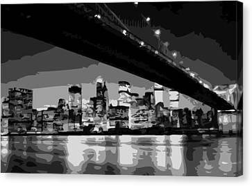 Brooklyn Bridge @ Night Bw8 Canvas Print by Scott Kelley